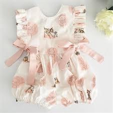 <b>0 24M Summer</b> Clothing Baby Girl Deer Flower Cotton Soft Romper ...