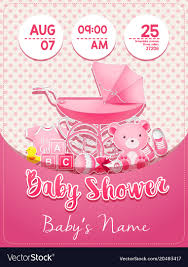 baby girl invite baby shower girl invitation template with toys