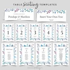 Wedding Table Name Cards Seating Template Editable Pdf Blue Etsy