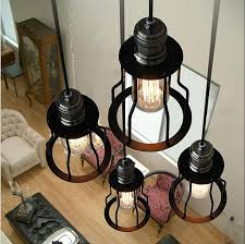 loft vintage wrought iron pendant lights american industrial style iron frame hanging lamp dining room lighting chandelier style dining room lighting