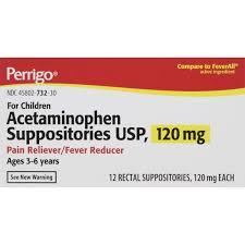 Acetaminophen Suppositories 120 Mg 12 Ea