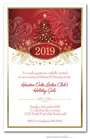 Christmas Inviations Swirled Red Christmas Tree Holiday Party Invitations