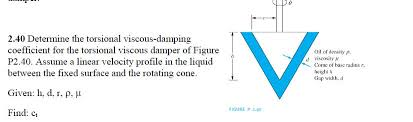 Viscous Damping Solved Determine The Torsional Viscous Damping Coefficien
