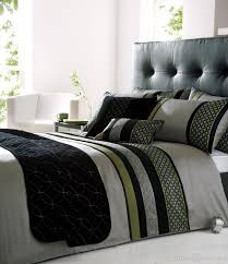 saturn silver black green embroidered duvet cover