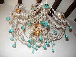 french aqua blue and drops crystal chandelier circa 1920 in excellent condition for