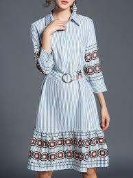 Light Blue 3 4 Sleeve Dress Light Blue 3 4 Sleeve Stripes Flounce Midi Dress 14drc73696