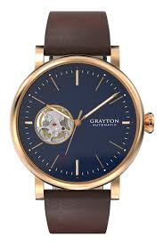 previous minimalist blue dial open heart mechanical automatic watch minimalist brown leather strap automatic watch minimalist