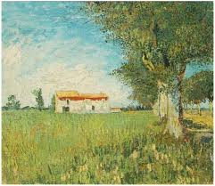 image only van gogh farmhouse in a wheat field