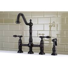 kingston brass victorian high spout lever handles bridge kitchen faucet with side sprayer com