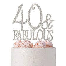 Amazoncom 40 And Fabulous Rhinestone Cake Topper Premium Sparkly