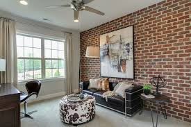 contemporary home office design. Contemporary Home Office With Brick Wall And Striking Art Design