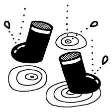 長靴梅雨夏の季節6月の行事無料白黒イラスト素材 梅雨の白黒