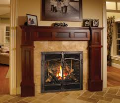 traditional interior design with artificial fake high output fireplace red gany wood fireplace mantel