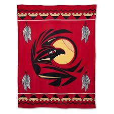 Native Design Blankets Native American Fleece Blanket Raven