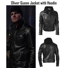 oliver queen leather jacket with hoo