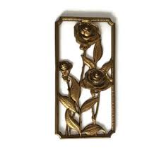syroco wood wall plaque gold roses from