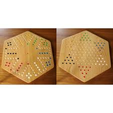 Wooden Game With Marbles Cherry Wood Aggravation Chinese Checkers Board Game 33