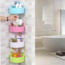 wall mounted bathroom corner shelf er suction cup plastic shower basket kitchen wall rack shower room holder four colors wall mounted bathroom shelf