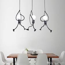 nordic creative iron hanging lights for dining living room little man climbing rope pendant lights art decoration pendant lamp nz 2019 from mirror88