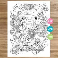 Coloring pages for kids elephants coloring pages. Elephant Coloring Page Animal Art Coloring Book Printable Etsy