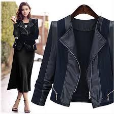 plus size women coat female basic jackets xl 5xl cardigan coats patchwork pu leather coat fashion autumn and winter outerwear