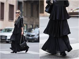 max co tiered ruffle maxi dress leather jacket with maxi dress outfit milan fashion week ss17 blogger street style