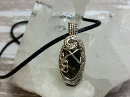 black moonstone silver wire wrapped pendant
