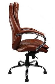 brown leather office chair. Professional High-Back Leather Faced Chair Side View Brown Office