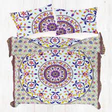 pink blue and yellow fl mandala duvet cover set