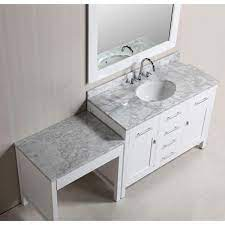Master bathroom vanity with makeup area. Design Element London 48 In W X 22 In D Vanity In White With Marble Vanity Top In Carrara White Mirror And Makeup Table Dec076c W Mut W The Home Depot