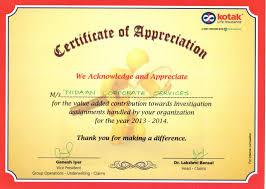 Getting Appreciation Certificate By Kotak Mahindra Old Mutual Life