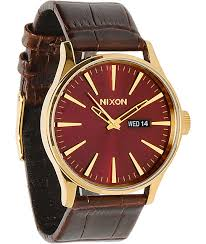 nixon sentry gold oxblood sunray brown gator leather og watch zumiez