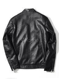 men s leather jacket zipper black lined hip hop