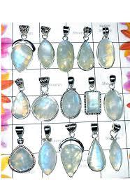cbsp001 50 pcs assorted blue fire rainbow moonstone pendants cbsp001