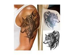 Voděodolné Dočasné Tetování Motiv Vlčí Hlava černá Bižuterie Top Cz
