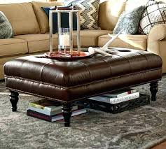 table coffee table ottoman diamond tufted leather two rows of along the piped edges tray