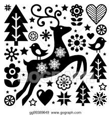 Black And White Greeting Card Clip Art Christmas Black And White Folk Vector Pattern