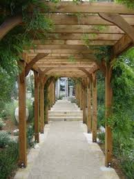 Pergola walkway between cottage and main house