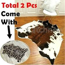 animal print large cowhide rug leopard cow hide leather carpet mat faux