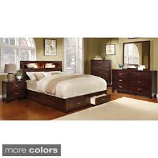 furniture of america clement 4 piece storage bedroom set with lighting bedroom furniture set