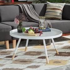 Marcella Paint-dipped Round Spindle Tray Top Coffee Table iNSPIRE Q Modern  - Free Shipping