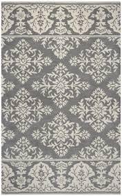 marianna fields wool rectangular area rug 9 x 12 grey ivory white with damask