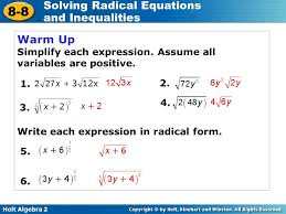 solving radical equations and inequalities ppt