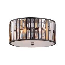 gemma low ceiling light with amber and clear crystal prisms bronze frame