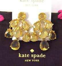 new kate spade champagne chandelier earrings 14k gold fill crystals w dust bag