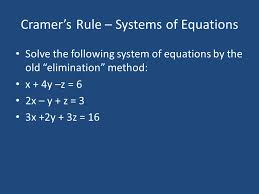 2 cramer s rule systems of equations solve