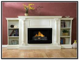 gas fireplace with bookshelves