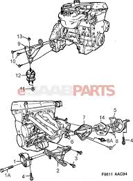 32017994 saab engine mount front rh 9 3og 4cyl 900ng 6 cyl diagram image 1