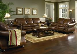 brown leather sofa for living room with beige rug
