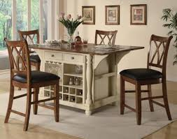 white tall kitchen table with beverage storage